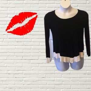 INC BLACK SWEATER LONG SLEEVE WITH WHITE TRIM! TOP